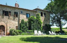Luxury houses for sale in Siena. Ancient stone villa with a swimming pool in Castellina in Chianti, Tuscany, Italy