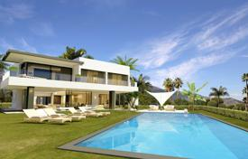 Off-plan property for sale overseas. Modern villa with a private garden, a pool and a terrace, Marbella, Spain