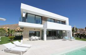 Houses with pools for sale in Finestrat. Modern villa overlooking the sea and mountains in Finestrat, Alicante, Spain