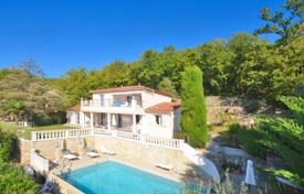 4 bedroom houses for sale in France. Stylish villa with a studio, a landscaped park and a panoramic sea view, in a quiet district, Le Rouret, France
