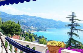 Villa with stunning panoramic sea views and a pool in Mortola, Liguria, Italy. Price on request