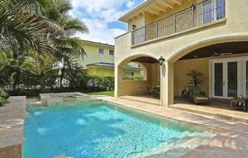 Comfortable villa with a backyard, a swimming pool, a seating area, a terrace and two garages, Miami, USA for $1,695,000