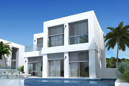 4 bedroom houses for sale in Guardamar del Segura. The new two-storey villa with panoramic windows, a swimming pool and a spacious terrace with sea view, Guardamar de Segura, Alicante, Spain
