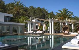 Luxury villas and houses for rent with swimming pools in Ibiza. Spacious villa with a pool, a garden and a tennis court, Ibiza, Spain