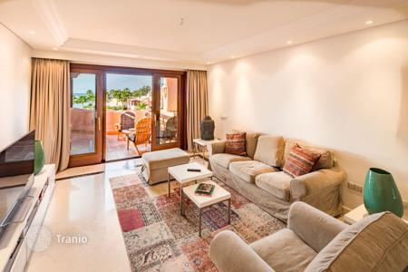 Residential for sale in Andalusia. Upmarket penthouse apartment with panoramic Mediterranean sea view in prestigious complex in the first sea line, Malaga, Spain