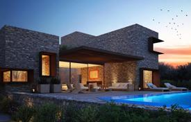 Houses with pools for sale overseas. Three-level villa with a pool, a garden and a parking near the golf club and the sea in the Peloponnese, Messinia, Greece