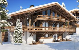 Luxury chalets for sale in Alps. Three-storey chalet with terraces and balconies, in a new residence, on a ski slope, 5 minutes drive from the center of Megeve, France
