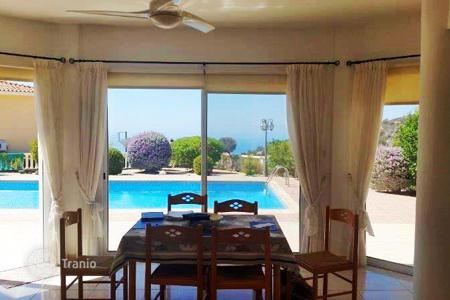 4 bedroom houses for sale in Cyprus. Furnished 2-storey villa overlooking the sea and the mountains in Pegia, Pathos. Swimming pool, parking and a well-kept garden on the site!