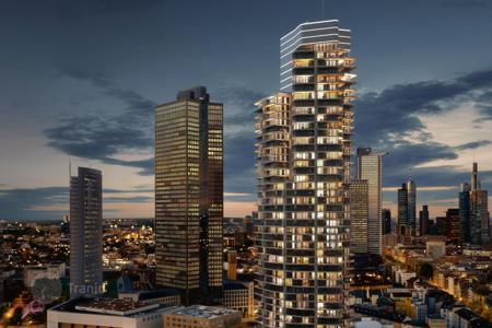 Condos for sale in Europe. New five-room apartment in a skyscraper in Frankfurt, European Quarter, Gallus district