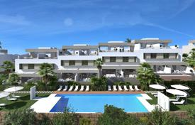 Townhouses for sale in Andalusia. Townhouse with a parking, a terrace and a sea view in a complex with golf courses, gardens, aswimming pool and a spa-center, Mijas, Spain