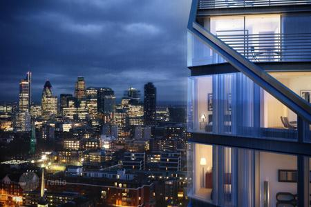 Property for sale in England. Apartment in a high-rise tower on the bank of Regent's Canal in London