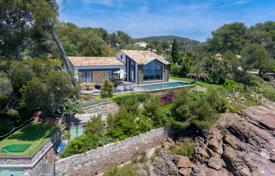 Houses with pools by the sea for sale in Saint-Raphaël. Extensive property on the first line from the sea, with sea and rocks views, a garden, a pool and a hangar for boats, Saint-Raphael, France