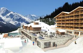Luxury chalets for sale in Alps. Comfortable chalet with balcony, in a new residence with swimming pool, next to the ski slopes of the popular resort, Valais, Switzerland