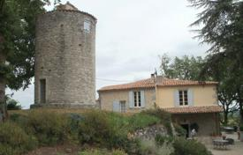 Property for sale in Aquitaine. Large house with superb views and old mill, on 6 acres near Duras