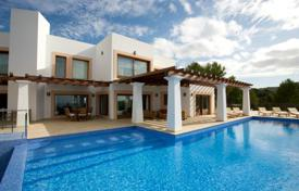 Luxury villas and houses for rent with swimming pools in Ibiza. Duplex villa with pool, garden and terrace with sea views for rent in Cala Tarida, Ibiza, Spain