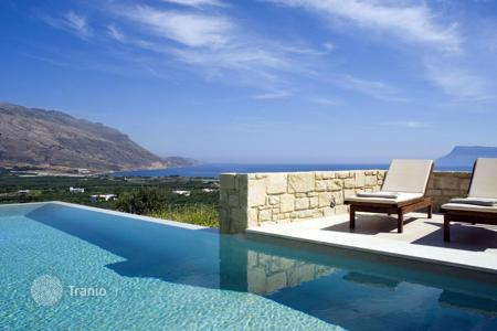 2 bedroom villas and houses to rent in Crete. Villa Oneiro is a two storey, two bedroom villa featuring a spacious, natural stone terrace to the front and sides of the property