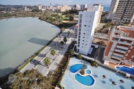 Cheap 1 bedroom apartments for sale in Costa Blanca. Fully furnished apartment in complex with swimming pool and sea views and a pond, Calp, Alicante